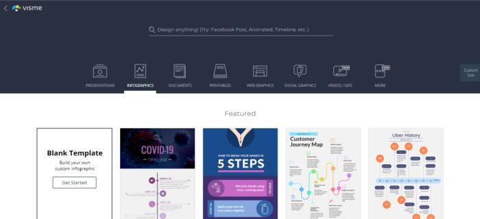 Visme permite criar infográficos (Imagem: Reprodução/Visme)