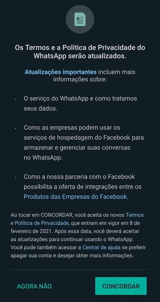Aviso sobre mudança na política do WhatsApp (Imagem: Reprodução)
