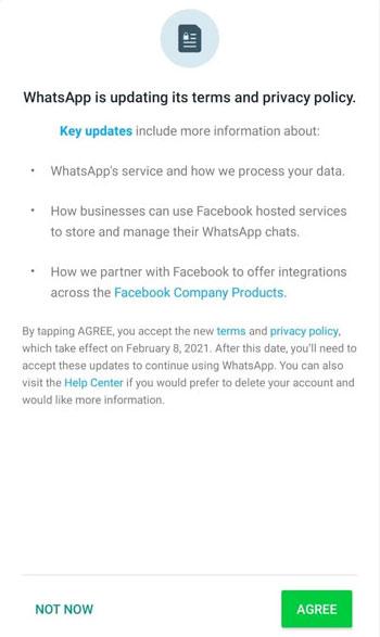 Aviso sobre mudança na política do WhatsApp (Imagem: Reprodução/The Hacker News)