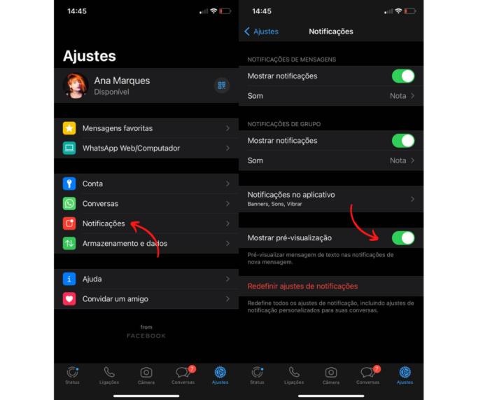 Configurando notificações do WhatsApp