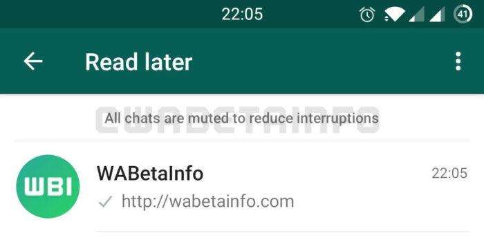 """""""Ler mais tarde"""" no WhatsApp (Imagem: Reprodução/WABetaInfo)"""