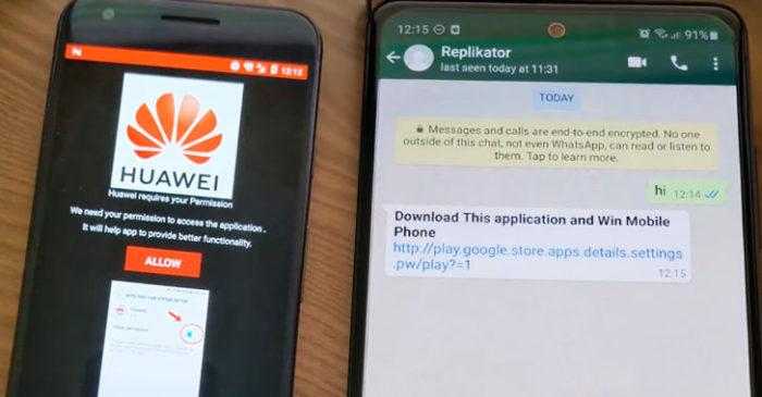 Malware usa falsa promoção da Huawei para atrair vítimas no WhatsApp (Imagem: Reprodução)