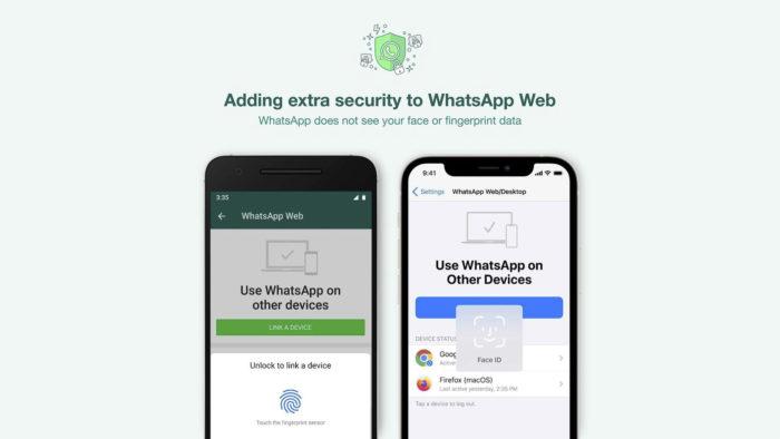 WhatsApp começa a solicitar biometria para liberar acesso à versão web (Imagem: Reprodução/WhatsApp/Instagram)