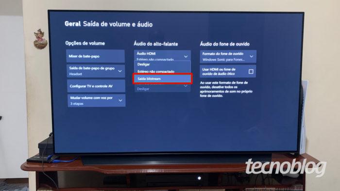 Configurações de áudio do Xbox One (Imagem: Ronaldo Gogoni/Tecnoblog)