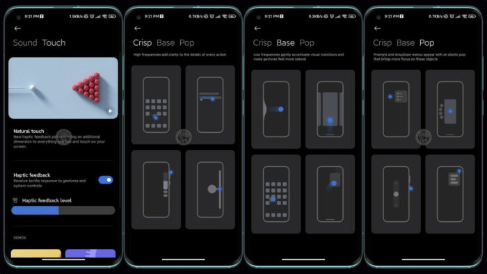 Xiaomi trabalha em feedback tátil para gestos na MIUI 12.5 (Imagem: Reprodução/Xiaomiui/Telegram)