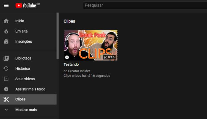 Acessando clipes no YouTube