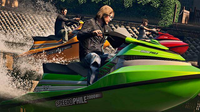 Nem só em terra se corre! Corridas no mar também são possíveis em GTA V (Imagem: Divulgação / Rockstar)