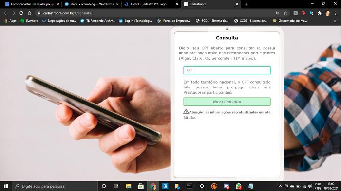 Como cadastrar um celular pré-pago na Anatel (Imagem: Leandro Kovacs/Reprodução)