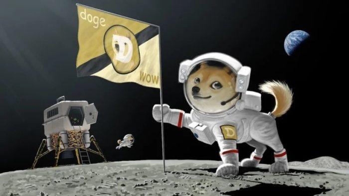 Elon Musk já sugeriu levar o dogecoin para a Lua ao publicar uma ilustração no final de fevereiro (Imagem: Reprodução/Twitter))