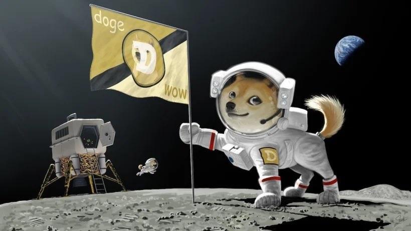 Elon Musk já sugeriu levar o dogecoin para a Lua ao publicar uma ilustração no final de fevereiro (Imagem: Reprodução/Twitter)