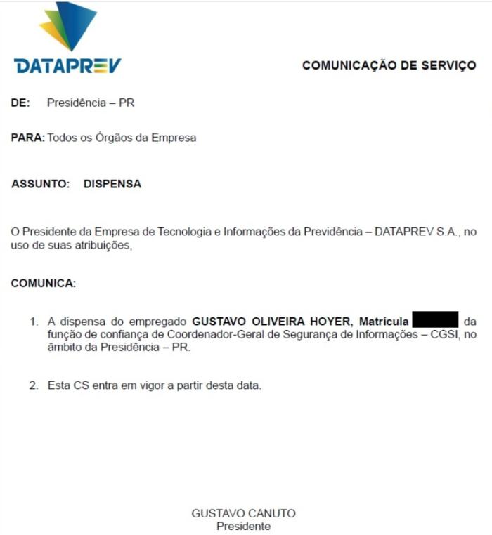 Carta de dispensa de Gustavo Hoyer, assinada pelo presidente da Dataprev (Imagem: Reprodução/Capital Digital)