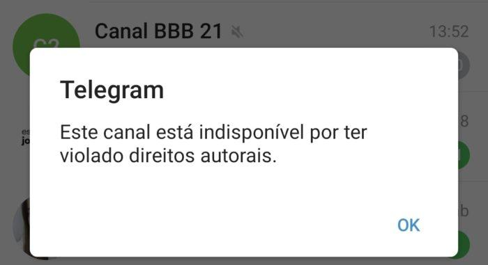 Telegram baniu grupo sobre BBB 21 (Imagem: Reprodução/Twitter)