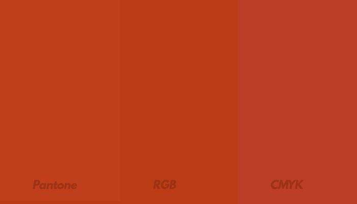 Exemplo de cor em Pantone, RGB e CMYK
