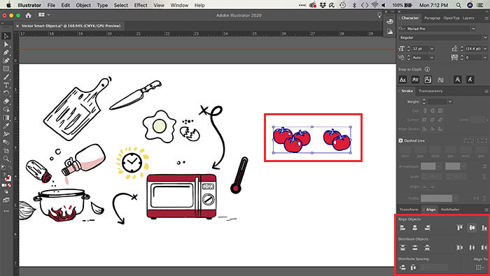Alinhando objetos no Illustrator