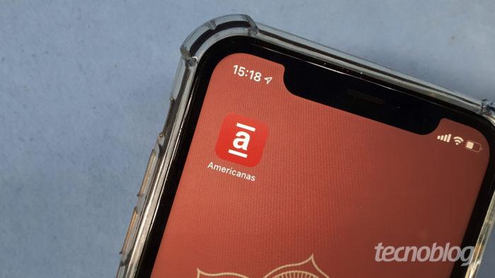 App da Americanas na tela do <a href='https://meuspy.com/tag/Espione-celulares'>celular</a> (Imagem: Bruno Gall De Blasi/Tecnoblog)