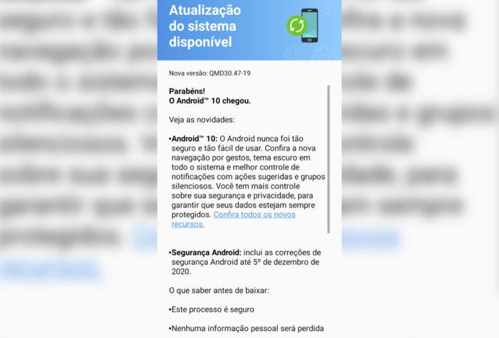 Notificação de atualização do Android 10 para Moto G8 Play (Imagem: Reprodução/Tecnoblog)