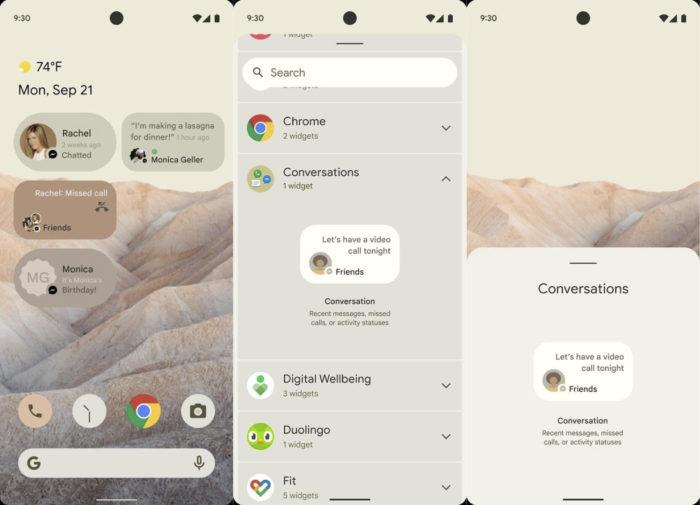 Widgets de chat no Android 12 (imagem: reprodução/XDA-Developers)