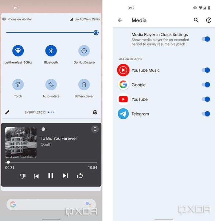 Controle de mídia do Android 12 (imagem: reprodução/XDA-Developers)