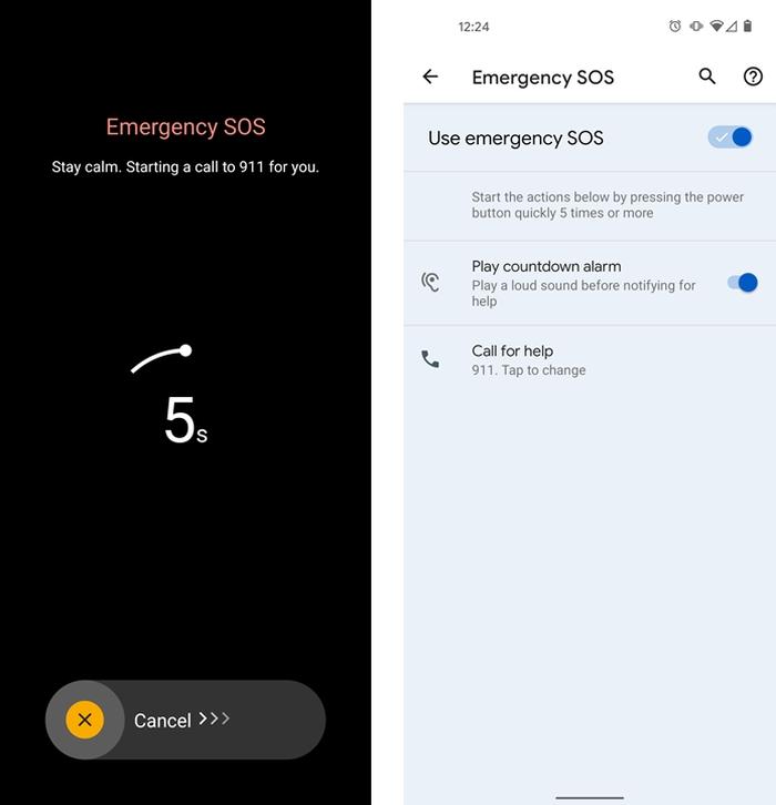 Botão de emergência do Android 12 (imagem: reprodução/Android Police)