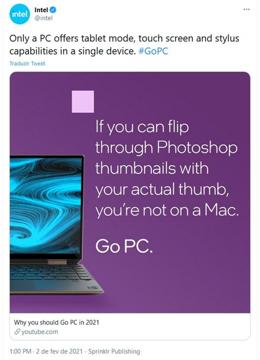 Anúncio da Intel contra o Apple M1 (imagem: reprodução/Twitter)