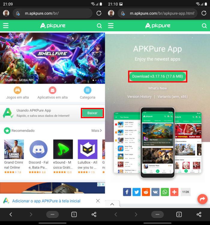 Instalando o APKPure no Android (Imagem: Reprodução/APKPure) / como baixar whatsapp sem play store