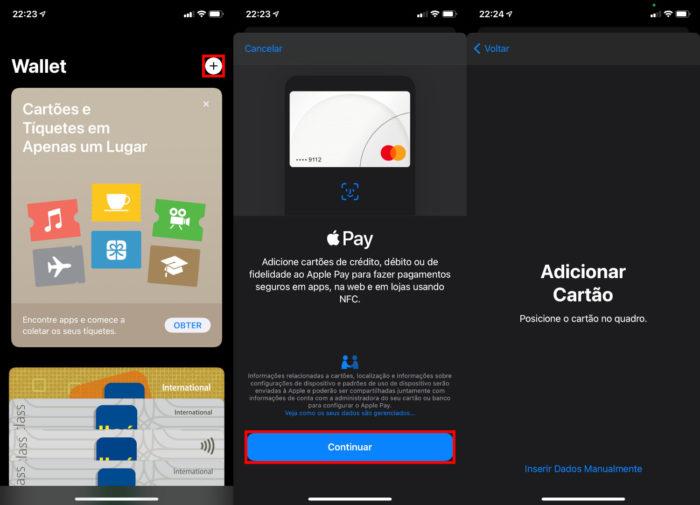 Procedimento para cadastrar um cartão de crédito no Wallet (Imagem: Reprodução/Apple)