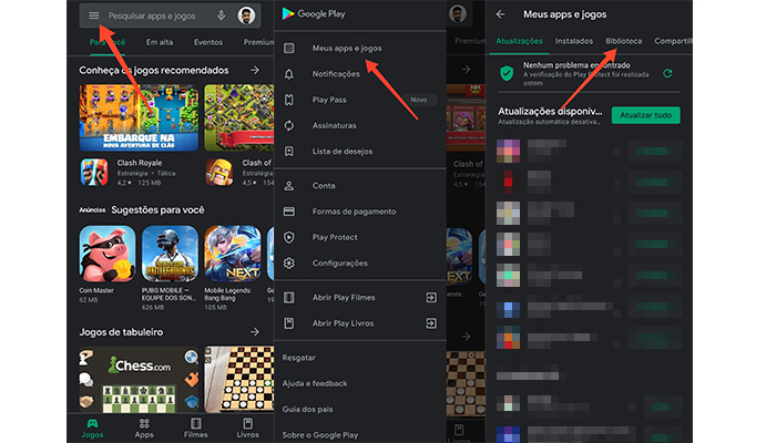 Processo para ver apps já baixados na Play Store (Imagem: Reprodução/Play Store)