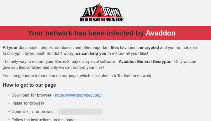 Avaddon ensina usuário a visitar dark web para recuperar arquivos (Imagem: Reprodução / Hornet Security)