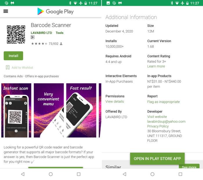 Barcode Scanner tinha 10 milhões de downloads no Android (Imagem: Reprodução/Malwarebytes)