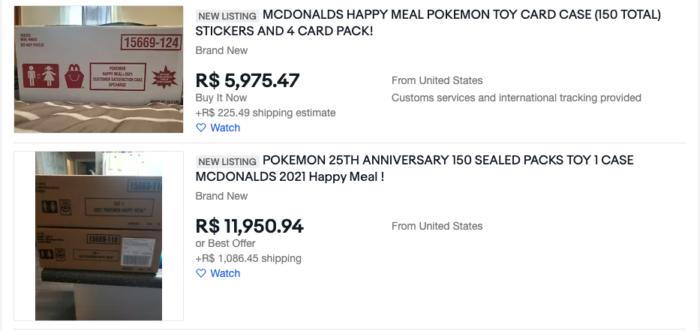 Ofertas das cartas de Pokémon do McLanche Feliz no eBay (Imagem: Reprodução/eBay)