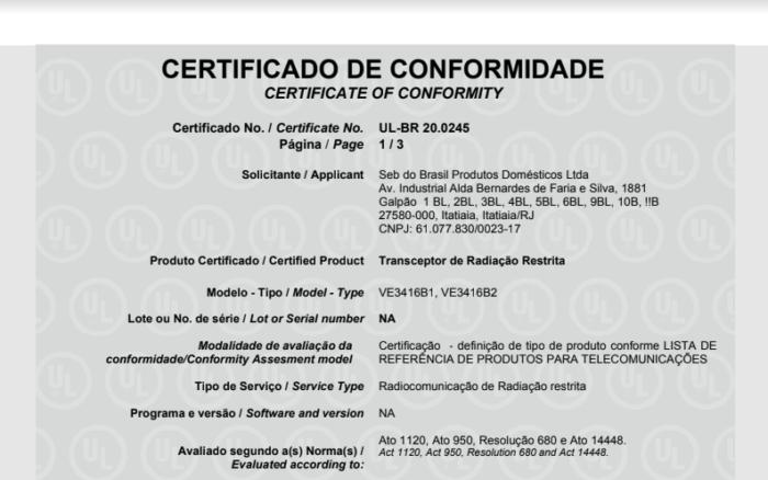 Certificado do Ventilador Arno Ultra Silence Force com Bluetooth (Imagem: Reprodução/Anatel)