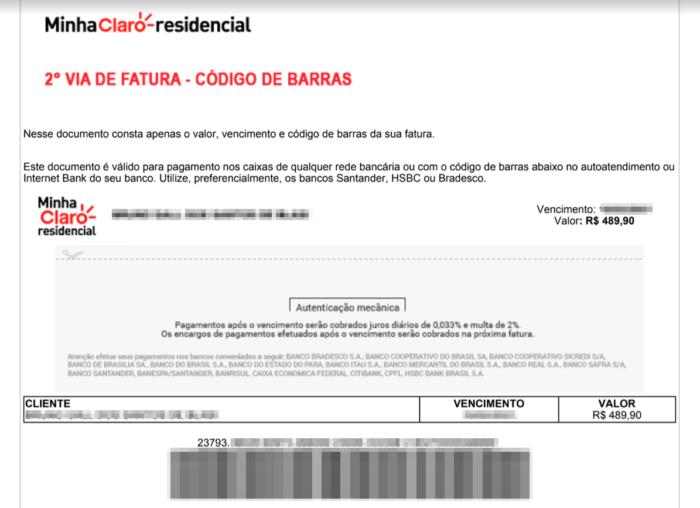 Boleto falso em nome da Claro (Imagem: Reprodução/Tecnoblog)