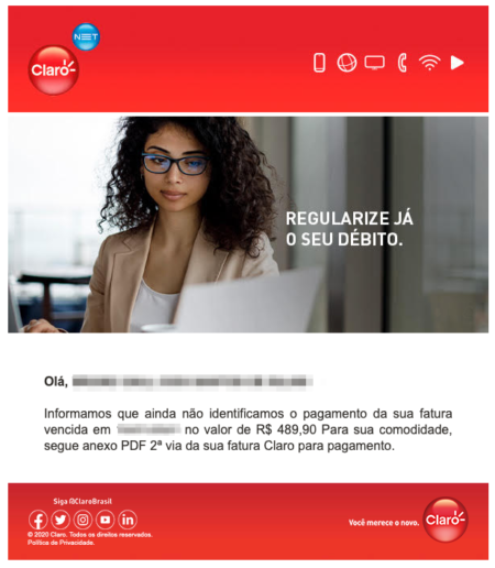 Fake email on behalf of Claro (Image: Reproduction / Tecnoblog)