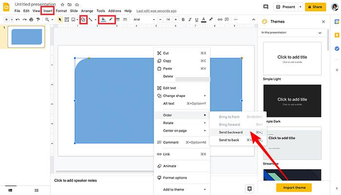 Inserindo imagen e forma na capa de slide