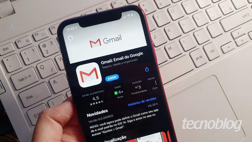 App do Gmail no iPhone (Imagem: Ana Marques/Tecnoblog)