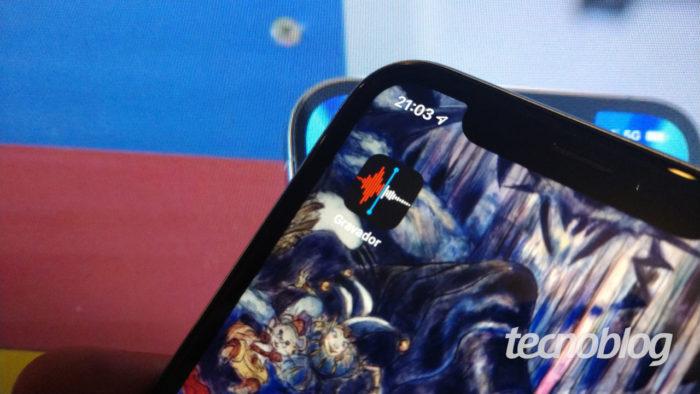 App Gravador do iPhone (Imagem: Ronaldo Gogoni/Tecnoblog) / como transferir a gravação de voz do iPhone para o PC