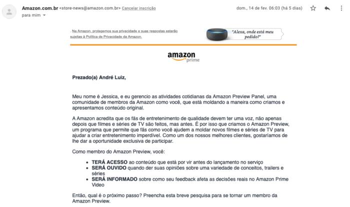 Convite para o Amazon Preview (Imagem: reprodução)