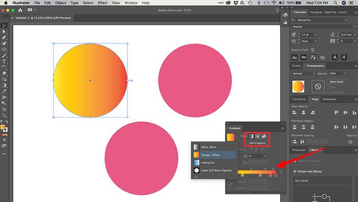 Criando degradê linear no Illustrator.
