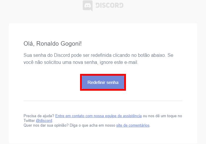 E-mail para alteração de senha do Discord (Imagem: Reprodução/Discord) / como mudar a senha do discord