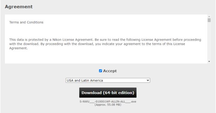 Baixando o utilitário de webcam da Nikon