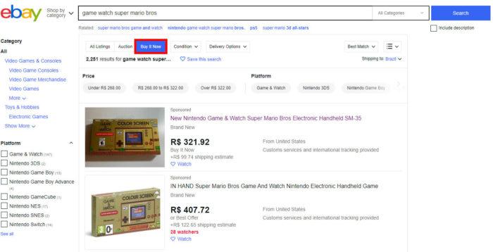 """Clique em """"Buy it now"""" para exibir apenas as vendas diretas (Imagem: Reprodução/eBay) / como entrar no ebay dos estados unidos"""