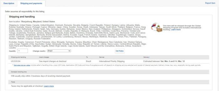 Informações detalhadas de envio (Imagem: Reprodução/eBay) / como entrar no ebay dos estados unidos