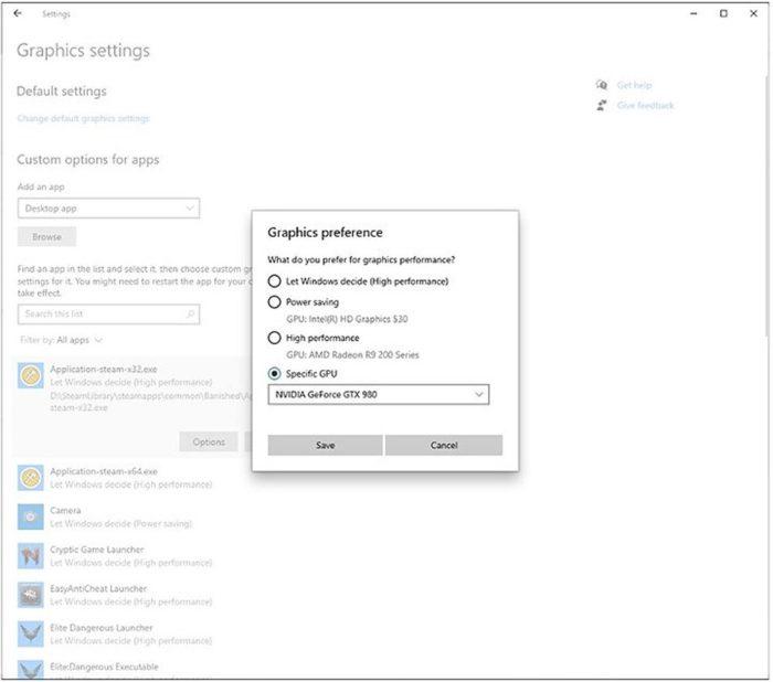 Windows 10 21H1 com escolha de GPU por app (Imagem: reprodução/BleepingComputer)
