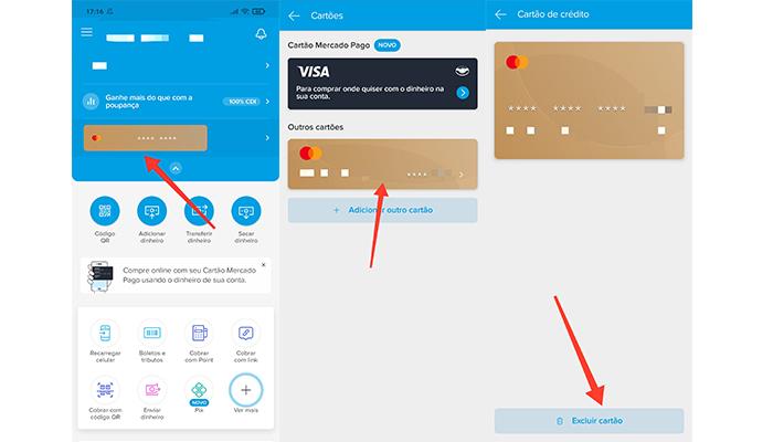 Processo para excluir um cartão de crédito no app do Mercado Pago (Imagem: Reprodução/Mercado Pago)