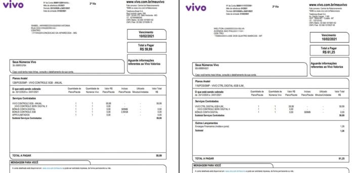 Faturas vazada de clientes da Vivo em MG e MT (Imagem: Reprodução)