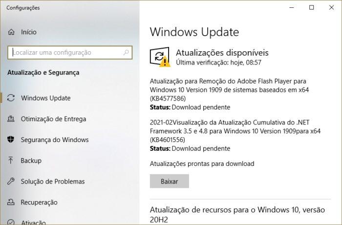 Atualização KB4577586 no Windows Update (captura: Emerson Alecrim/Tecnoblog)