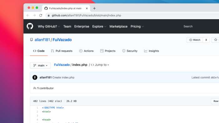 Fui Vazado opens source code (Image: Reproduction / GitHub)