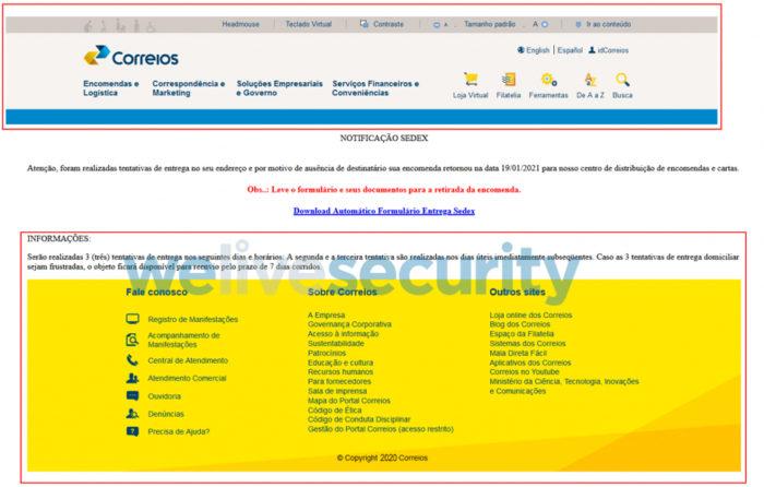 Página retirou imagens do site dos Correios (Imagem: Reprodução/ESET)