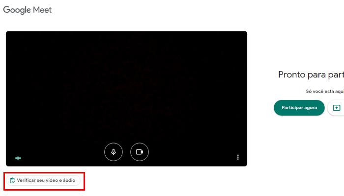 Processo para testar a webcam e microfone no Google Meet (Imagem: Reprodução/Google Meet)