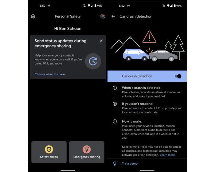 Ferramenta de detecção de acidentes do Google Pixel (Imagem: Reprodução/9to5Google)